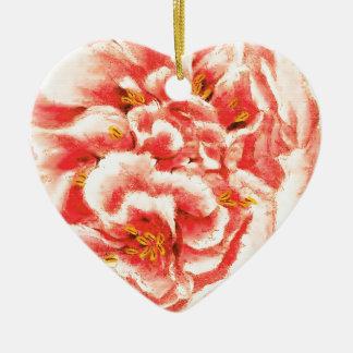 Pivoines roses vintages ornement cœur en céramique