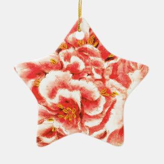 Pivoines roses vintages ornement étoile en céramique