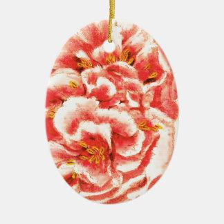 Pivoines roses vintages ornement ovale en céramique