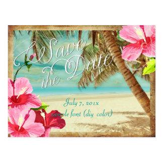 PixDezines/économies la date/plage tropicale Cartes Postales