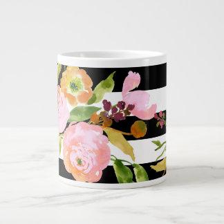 PixDezines floral/aquarelle/ranunculus/rayures Mug Jumbo