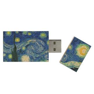 PixDezines Van Gogh Night/St étoilé. Remy Clé USB 2.0 En Bois