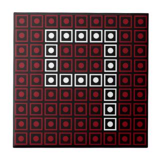 Pixel à 8 bits rouge, blanc et noir à la mode carreau