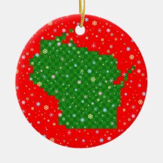 Pixel le Wisconsin et flocons de neige en pastel Ornement Rond En Céramique