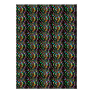 Pixel olographe brillant foncé de motif de vague posters