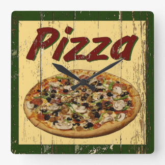 Pizza 1 horloge carrée