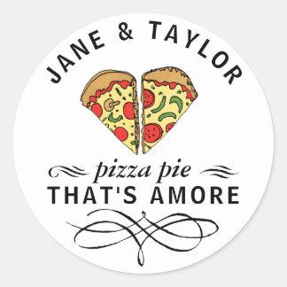 Pizza d'amour personnalisée sticker rond