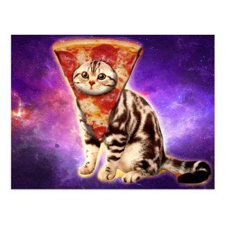 Pizza de chat - l'espace de chat - memes de chat carte postale
