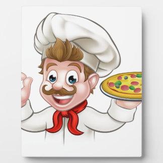 Pizza de chef de bande dessinée photos sur plaques