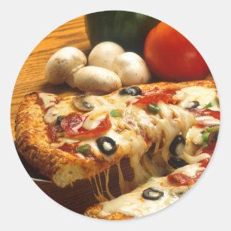 Pizza délicieuse autocollants ronds