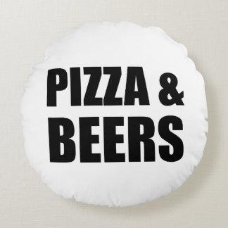 Pizza et bières coussins ronds
