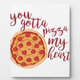 Pizza mon coeur plaque d'affichage