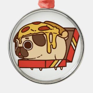 Pizza Pug-01 Ornement Rond Argenté