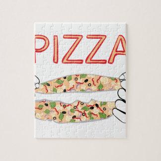 Pizza savoureuse de bande dessinée et Hands3 Puzzle