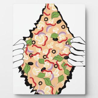 Pizza savoureuse de bande dessinée et Hands4 Plaque Photo