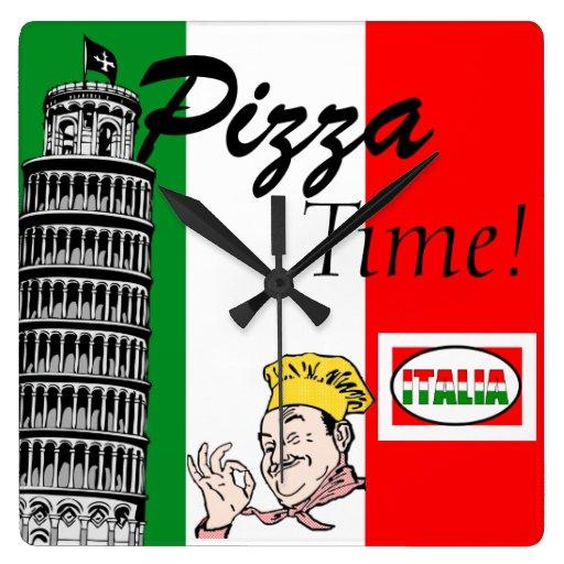 Pizza Temps-Italienne Horloge Murale
