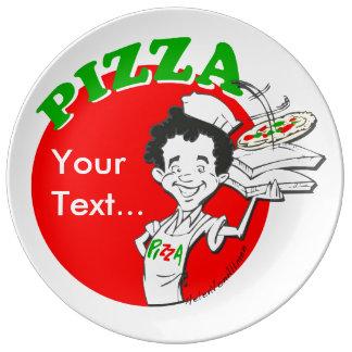 Pizzaiolo et pizza assiette en porcelaine