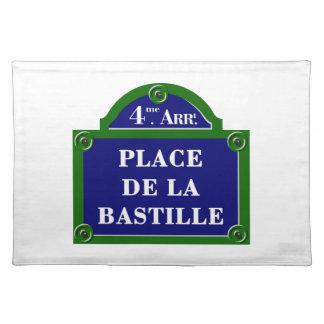 Place de la Bastille, plaque de rue de Paris Set De Table