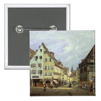 Place du Marche-aux.-Fruit, Colmar, 1875 Badge Carré 5 Cm