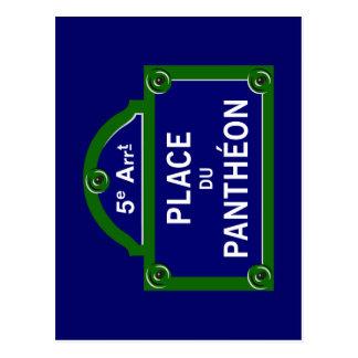 Place du Pantheon, plaque de rue de Paris Carte Postale