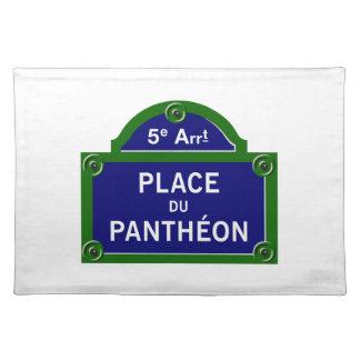 Place du Pantheon, plaque de rue de Paris Set De Table