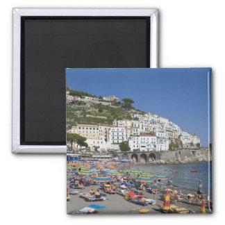 Plage à Amalfi, Campanie, Italie Magnet Carré