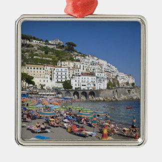 Plage à Amalfi, Campanie, Italie Ornement Carré Argenté