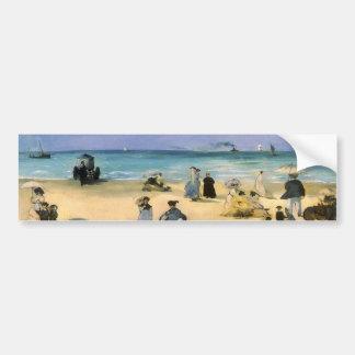 Plage à Boulogne par Manet, impressionisme vintage Autocollant De Voiture