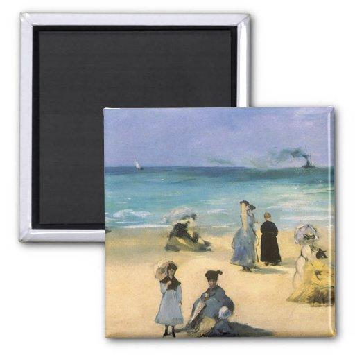 Plage à Boulogne par Manet, impressionisme vintage Aimant