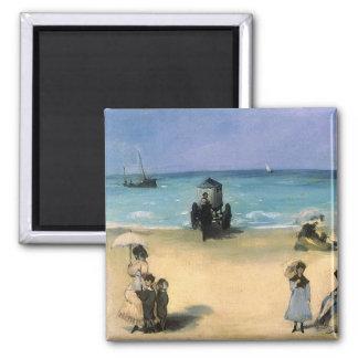 Plage à Boulogne par Manet, impressionisme vintage Magnets Pour Réfrigérateur