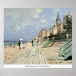 Plage au trouville par Claude Monet Posters