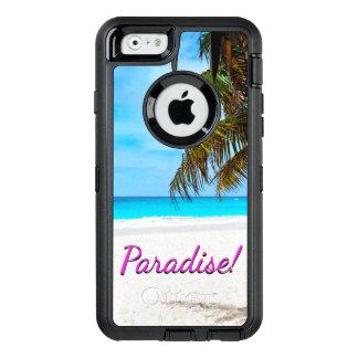Plage blanche de sable, palmier, texte de coque OtterBox iPhone 6/6s