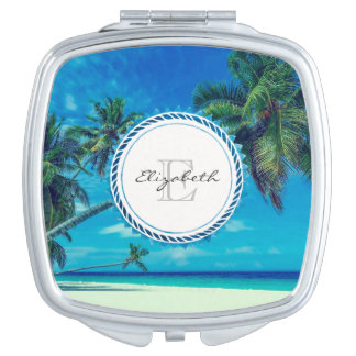 Plage blanche de Sandy avec le monogramme tropical Miroirs Compacts