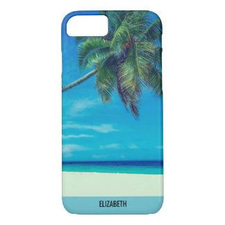 Plage blanche de Sandy avec les palmiers tropicaux Coque iPhone 7