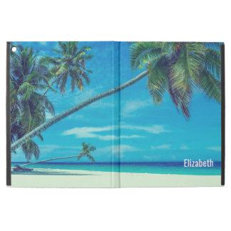 """Plage blanche de Sandy avec les paumes tropicales iPad Pro 12.9"""" Case"""