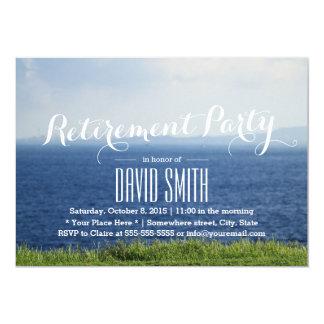 Plage bleue de mer d'été de partie de retraite carton d'invitation  12,7 cm x 17,78 cm