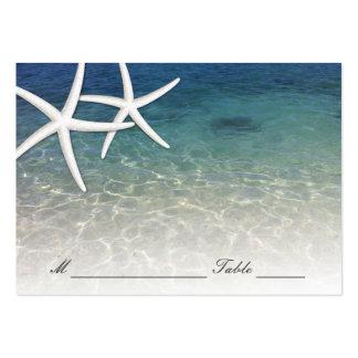 Plage bleue d'étoiles de mer de mer de la carte   carte de visite grand format