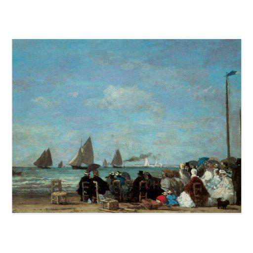 Plage chez Trouville, 1863 Carte Postale