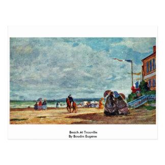 Plage chez Trouville par Boudin Eugène Carte Postale