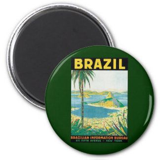 Plage côtière du Brésil de Rio de Janeiro vintage Magnet Rond 8 Cm