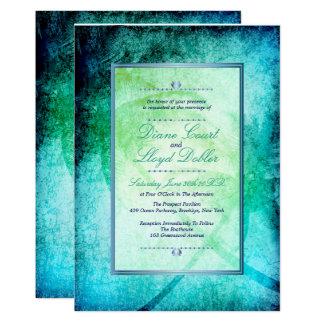 Plage d'aquarelle, palmiers épousant des carton d'invitation  12,7 cm x 17,78 cm