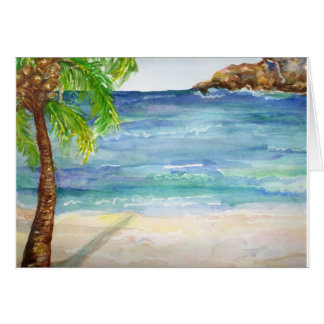 Plage d'Aruba avec la carte de palmier