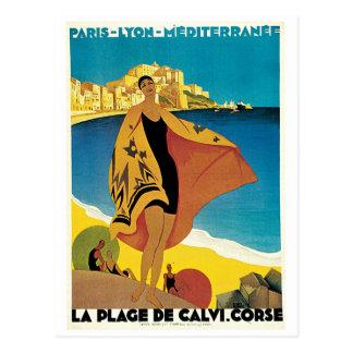 Plage De affiche vintage de voyage de Calvi, Franc Carte Postale