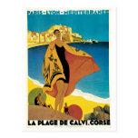 Plage De affiche vintage de voyage de Calvi, Franc Cartes Postales