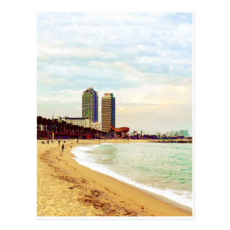 Plage de Barcelone sur le coucher du soleil Cartes Postales