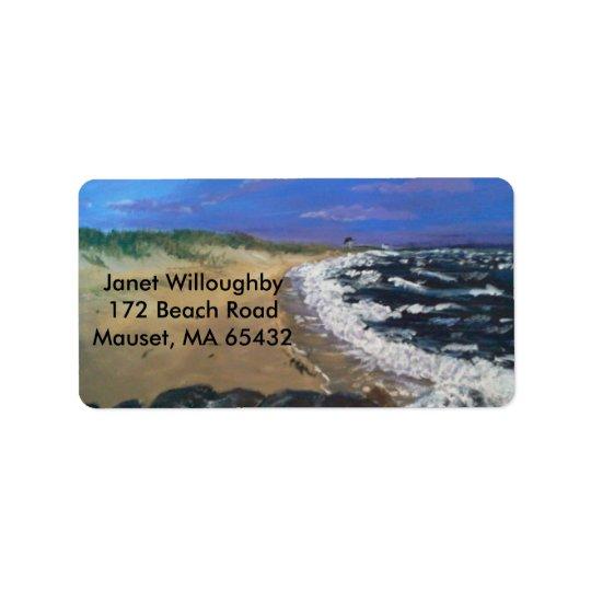 Plage de Cape Cod au crépuscule Étiquette D'adresse