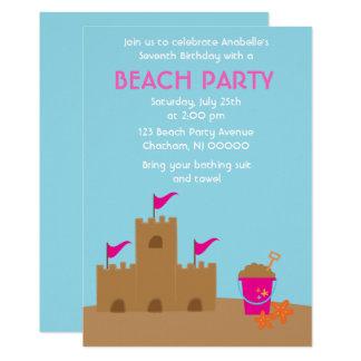 Plage de château de sable et fête d'anniversaire carton d'invitation  12,7 cm x 17,78 cm