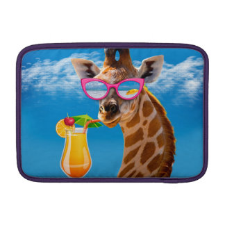 Plage de girafe - girafe drôle housse macbook air