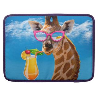 Plage de girafe - girafe drôle housse pour macbook