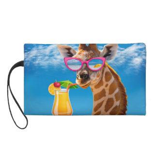 Plage de girafe - girafe drôle pochettes avec dragonne